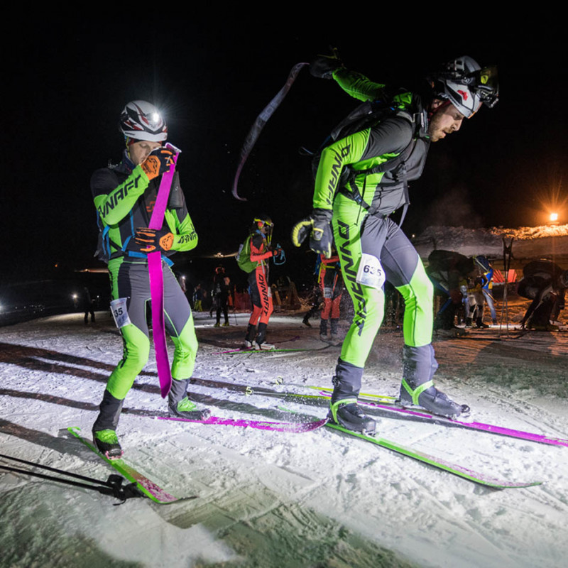 Dynafit athletes preparing for PDG at the Sellaronda Skimarathon