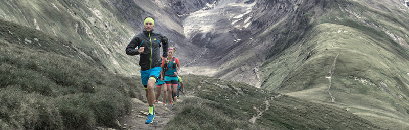 Dynafit ultra trail running athletes running in Obergurgl in the Austrian Alps